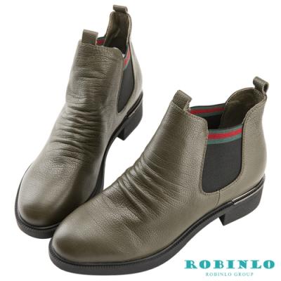 Robinlo 俐落感鬆緊織帶牛皮短靴 綠色