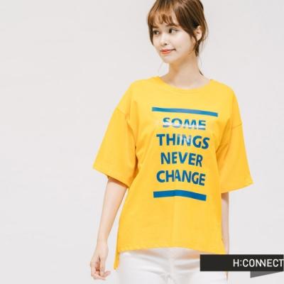 H:CONNECT 韓國品牌 女裝 -圓領亮色標語T-shirt-黃