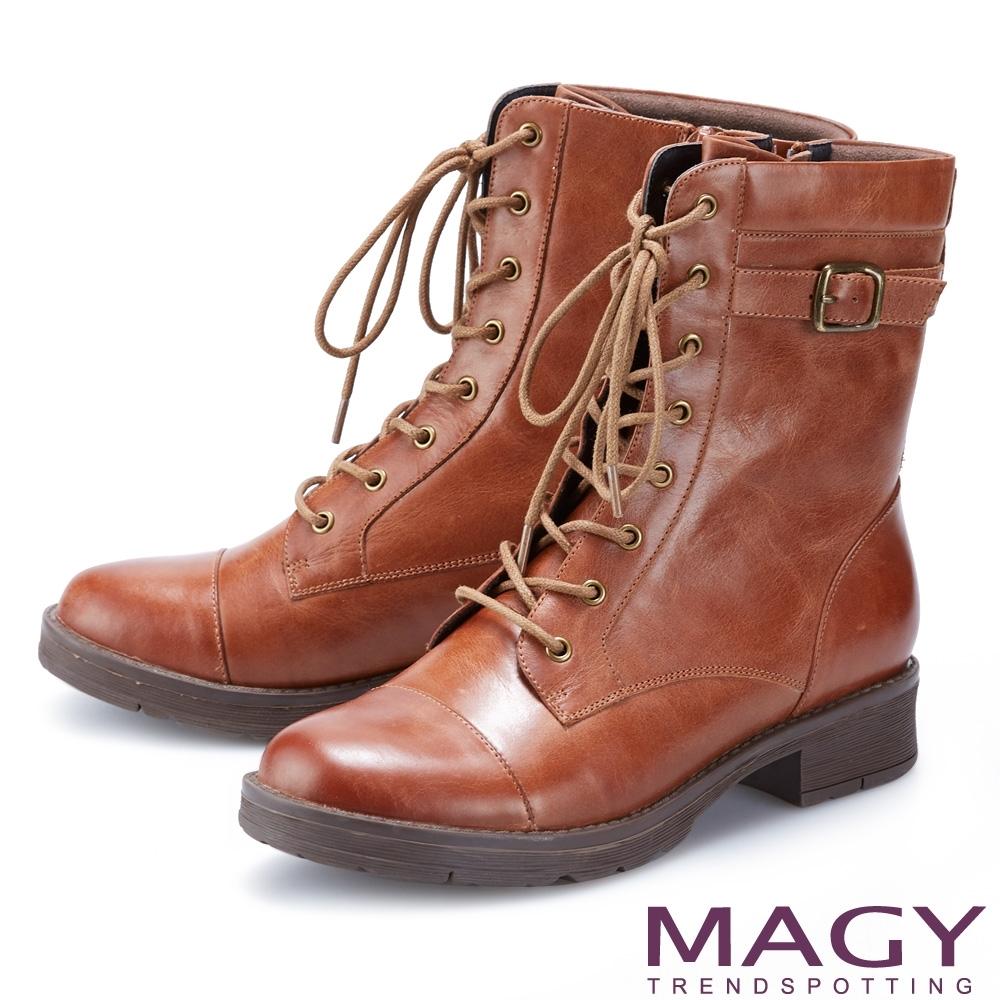 MAGY 中性帥氣真皮拉鍊綁帶 女 短靴 棕色