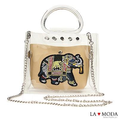 La Moda 大象繡花小巧透明手提鍊條子母包(米白)