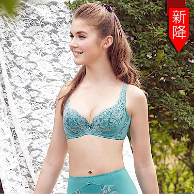 曼黛瑪璉-雙弧絲蛋白  D-F罩杯內衣(海洋藍)