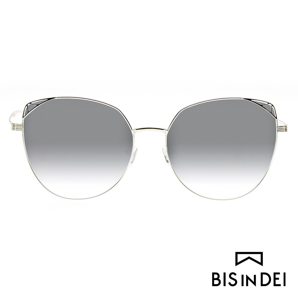 BIS IN DEI 貓眼蝴蝶框太陽眼鏡-銀