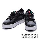 休閒鞋 MISS 21 時尚獨特異材質拼接網布厚底休閒鞋-黑