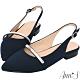 Ann'S寬腳板超推款-不破內裡軟金屬拉帶舒適尖頭平底鞋-深藍 product thumbnail 1