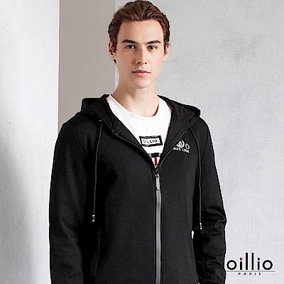 歐洲貴族 oillio 連帽外套 精緻電腦刺繡 縮口設計款 黑色