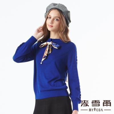 【麥雪爾】鏤空綁帶蝴蝶結長袖針織衫-寶藍