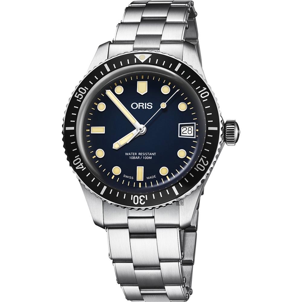 Oris 豪利時 Divers Sixty Five 潛水機械女錶-藍x銀錶帶/36mm