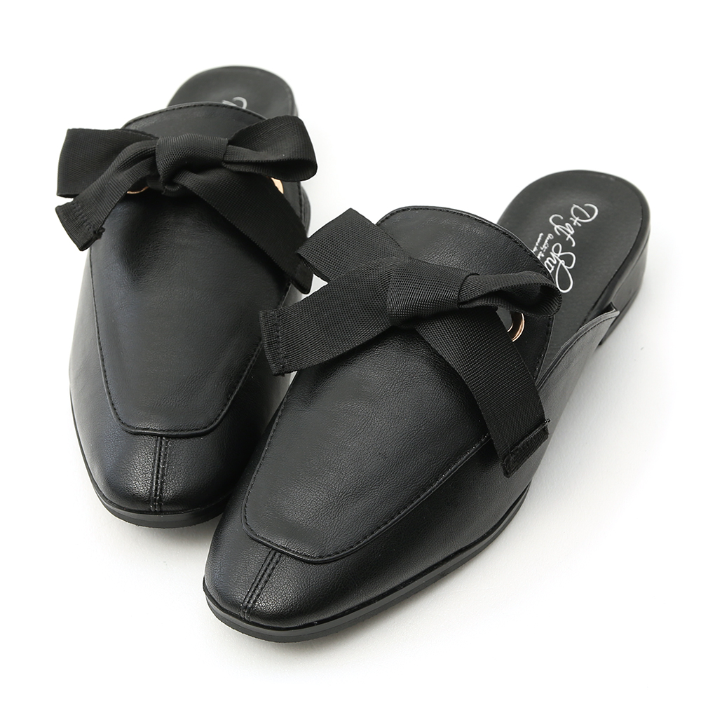 D+AF 甜美印象.緞帶蝴蝶結平底穆勒鞋*黑