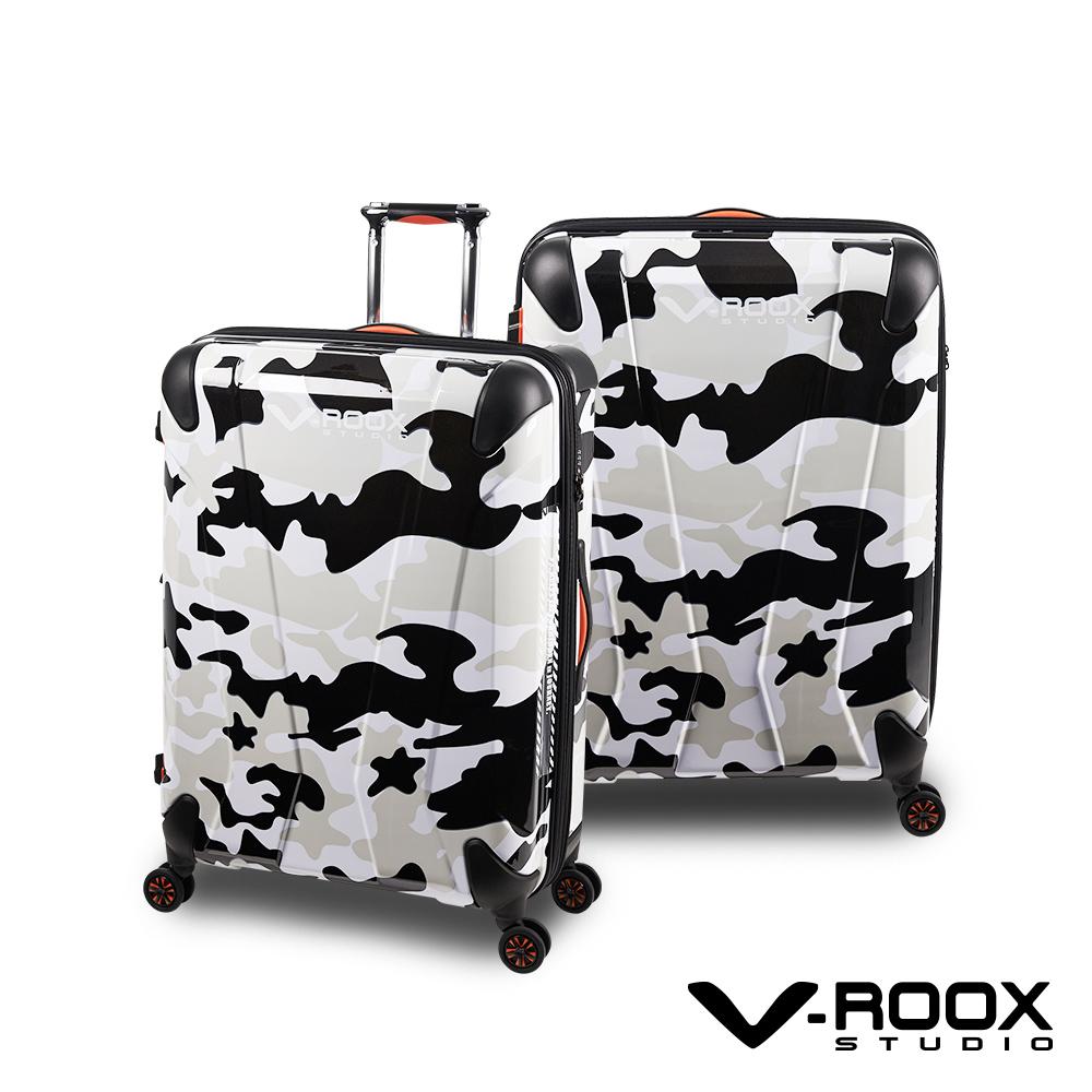V-ROOX AXIS  21吋 黑白迷彩 原創設計 防爆拉鏈可擴充行李箱