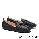 平底鞋 MELROSE 舒適百搭閃耀水鑽方頭平底鞋-黑