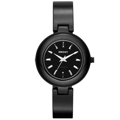 DKNY 魅力潮流晶鑽陶瓷套錶組-黑/30mm
