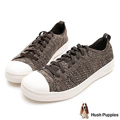 Hush Puppies 玩色針織休閒鞋-巧克力色