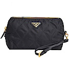PRADA 菱格紋品牌圖騰三角牌尼龍可拆式提帶手拿/化妝包(黑色)