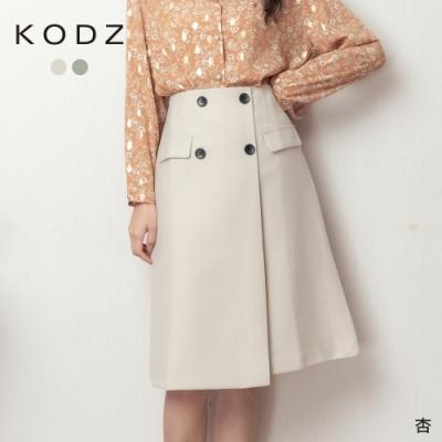 東京著衣-KODZ 巴黎女伶質感雙排釦口袋造型中裙-M.L(共二色)