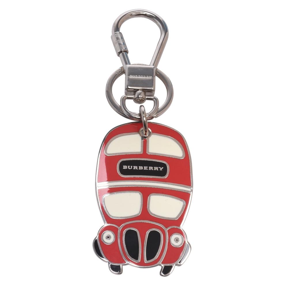 BURBERRY 金屬巴士造型吊牌鑰匙圈(蜜桃粉X銀)