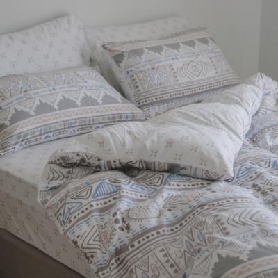 翔仔居家 台灣製 100% 精梳純棉兩用被套床包4件組-加大(瑪特)