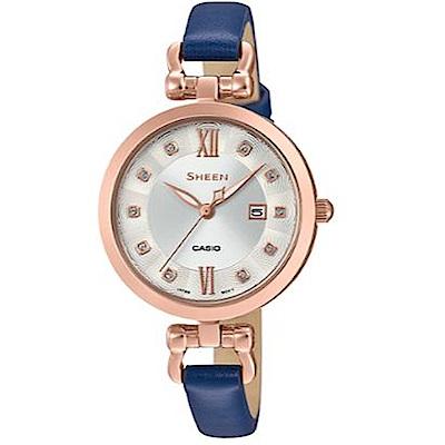 SHEEN 細緻婉約水晶點綴蜜香檳金皮帶腕錶(SHE-4055PGL-7A)藍/37mm