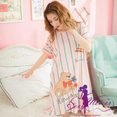 睡衣 全尺碼 條紋鋼琴熊牛奶絲短袖連身裙睡衣(活力淺桔) Sexy Meteor