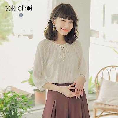 東京著衣 細膩優質透膚直紋圓領綁結上衣-S.M.L(共兩色)