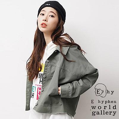 E hyphen 寬版棉質布勞森夾克外套