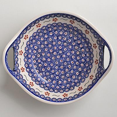 波蘭陶手工製 紅點藍花 雙耳圓形深餐盤22cm