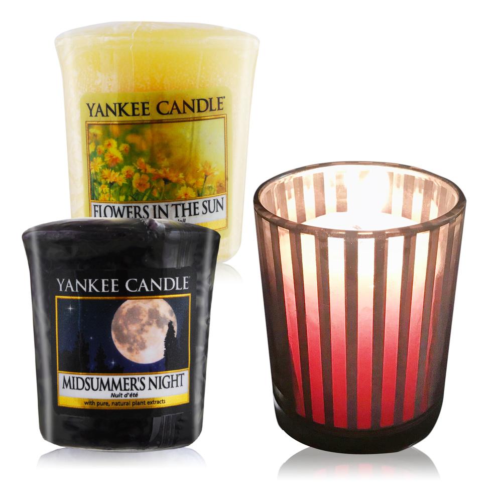 YANKEE CANDLE 香氛蠟燭-仲夏之夜+陽光下綻放的花朵49gX2+祈禱燭杯