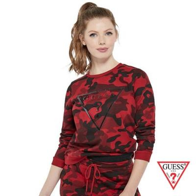 GUESS-女裝-個性迷彩倒三角LOGO長袖上衣-紅