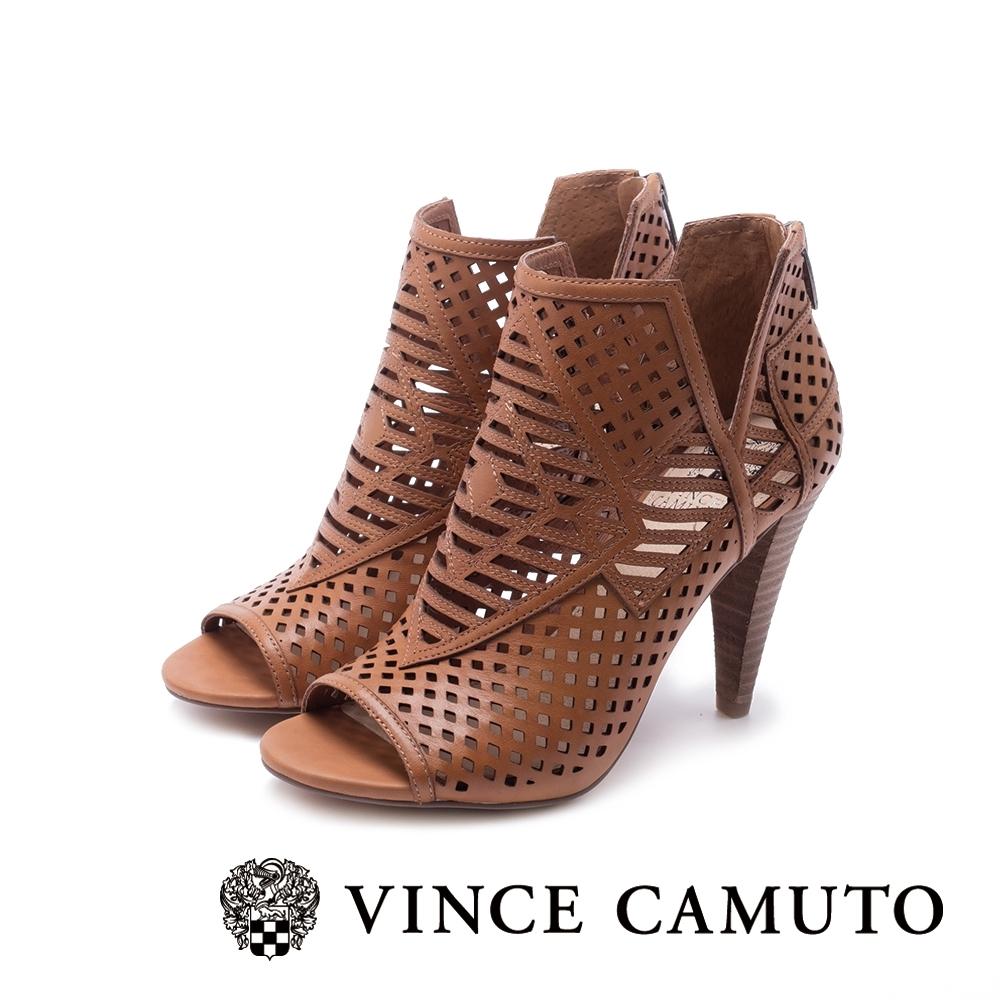 VINCE CAMUTO-ALLISTAN 古典簍空露趾美型高跟踝靴-棕色