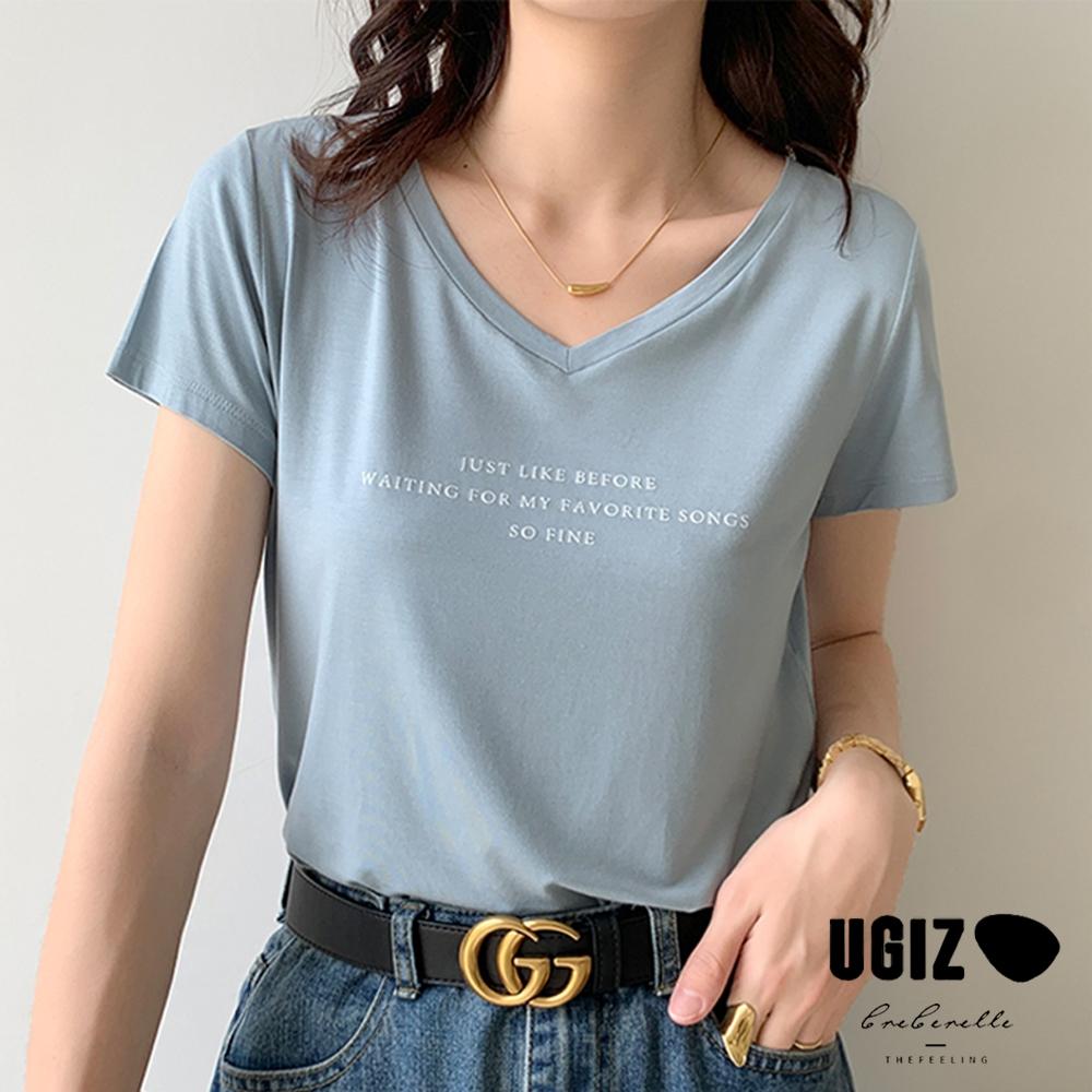 UGIZ-修身優雅V領英文字母簡約造型上衣-4色(M-XL)