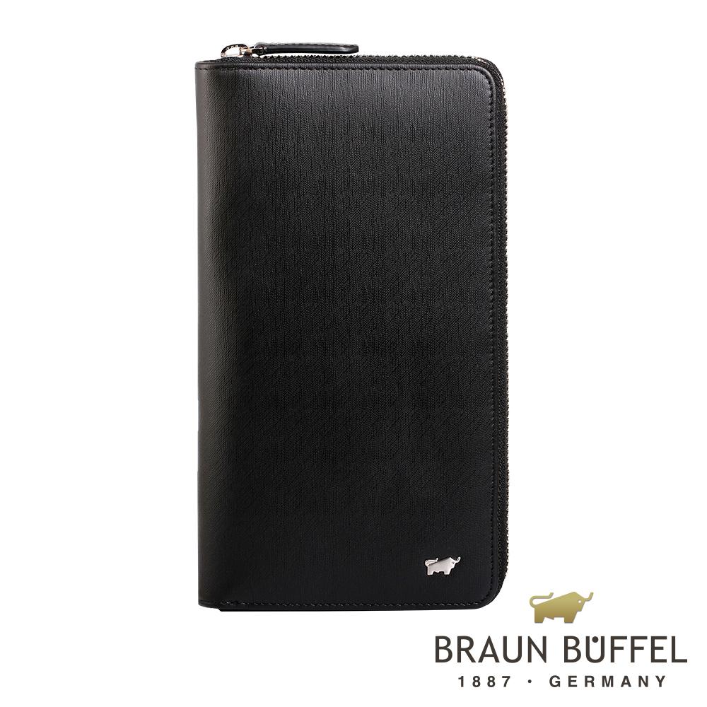 BRAUN BUFFEL - HOMME-M系列18卡全開拉鍊長夾 - 黯黑