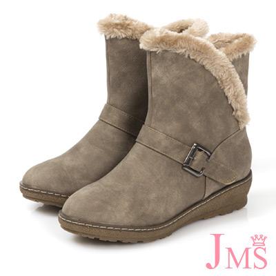 JMS-暖冬時尚流線型毛滾邊內刷毛短靴-卡其色