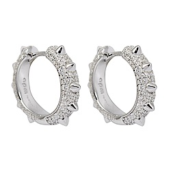 apm MONACO法國精品珠寶 閃耀銀色鑲鋯 Hérisson圈式耳環