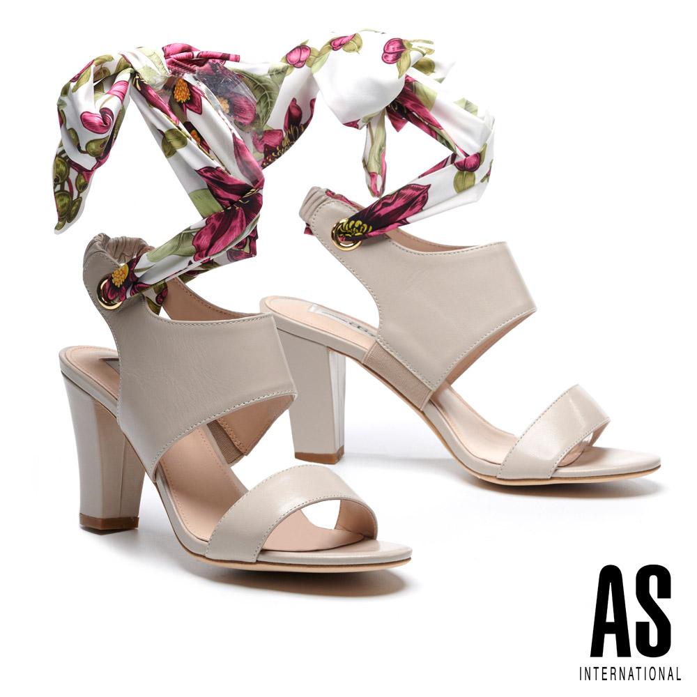 涼鞋 AS 義式情調兩穿造型羊皮美型高跟涼鞋-米