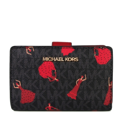 MICHAEL KORS Jet Set Travel 巴塞隆納限量款 防潑水佛朗明哥紅舞裙壓扣對開式中夾(咖啡紅)