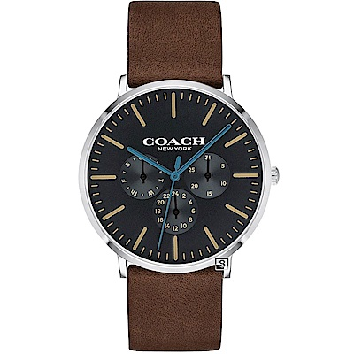 COACH Thompson 帥氣三眼時尚手錶(14602392)-黑/41mm