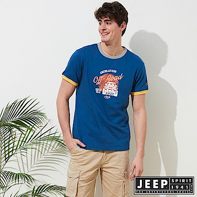 JEEP 塗鴉風格撞色短袖TEE-藍色