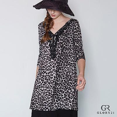 GLORY21 豹紋印花長上衣-豹紋 @ Y!購物