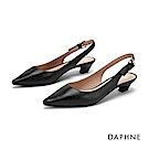 達芙妮DAPHNE 低跟鞋-質感真皮純色縷空尖頭粗跟鞋-黑