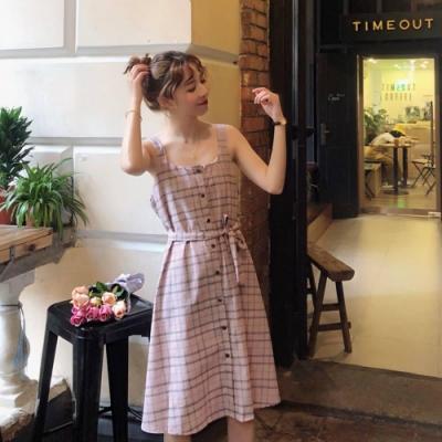La Belleza雙線格紋排釦吊帶背心裙附綁帶