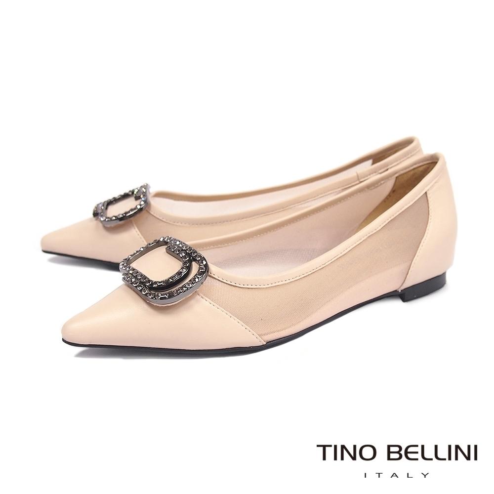 Tino Bellini雋永鑽飾羊皮拼接網面微內增高平底鞋_膚
