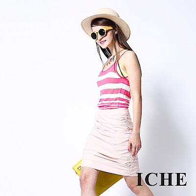 ICHE 衣哲 時尚粉領必備抓摺疊層蛋糕造型裙