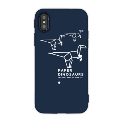 【TOYSELECT】iPhone X/Xs 幾何恐龍設計手機殼:跳跳龍 (深藍色)