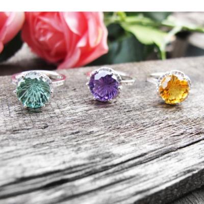 Hera 赫拉 火彩鑽石切割水晶純銀活圍戒/開口戒/戒指-3色