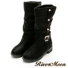 River&Moon中靴-金扣顯瘦抓皺工程騎士靴-黑