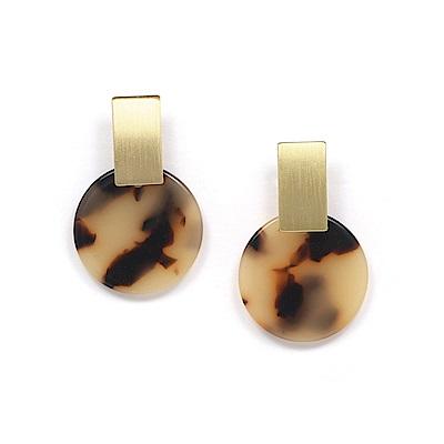 LOVERS TEMPO加拿大品牌 木星造型 琥珀色耳環