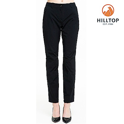 【hilltop山頂鳥】女款超潑水抗UV彈性長褲S07FH8黑美人