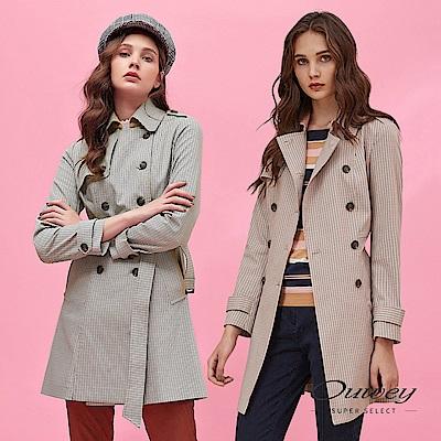 OUWEY歐薇 時髦復古格紋雙排扣長版風衣外套(粉/藍)