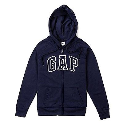 GAP 經典文字連帽外套(女)-深藍色