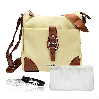 Aigner 愛格納 福袋組 TRCO系列尼龍旅行肩側背包+白色緹花化妝包+小牛皮手環