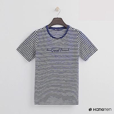 Hang Ten - 女裝 - 糖果配色橫條紋短T - 藍
